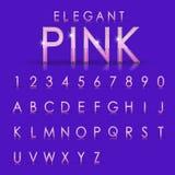 Elegante rosa Alphabete und Zahlsammlung Lizenzfreies Stockfoto