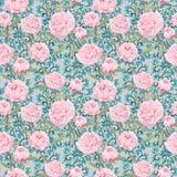 Elegante rosa Pfingstrosenblumen Wiederholendes Blumenmuster, aufwändiger Spitzedekor watercolor Stockfoto