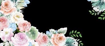 Elegante Rosen und Pfingstrosenblumen stock abbildung