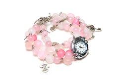 Elegante roze armband van Lampwork-glas Stock Afbeelding