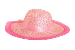Elegante roze hoed die op wit wordt geïsoleerda royalty-vrije stock fotografie
