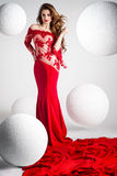Elegante Schönheit im roten Kleid Stockfotografie
