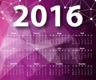 Elegante Schablone für Kalender 2016 Lizenzfreies Stockfoto