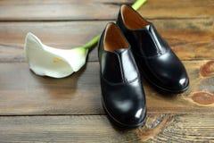 Elegante schoenen met gevoelige bloem Royalty-vrije Stock Afbeeldingen