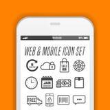 Elegante smartphone met pictogrammen, toepassingen Mobiel telefoon realistisch vectorontwerp Royalty-vrije Stock Afbeelding