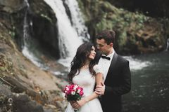 Elegante stilvolle glückliche Brunettebraut und herrlicher Bräutigam auf dem Hintergrund von einem schönen Fluss in den Bergen stockfoto