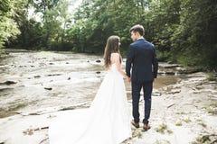 Elegante stilvolle gl?ckliche Brunettebraut und herrlicher Br?utigam auf dem Hintergrund von einem sch?nen Fluss in den Bergen stockfoto