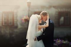 Elegante stilvolle herrliche blonde Braut und Bräutigam auf dem backgroun Lizenzfreie Stockfotos