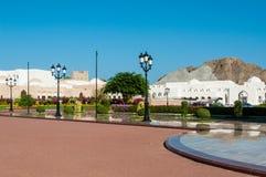 Elegante tuinen van Al Alam Palace Sultan Qaboos Muscat, Oman Stock Afbeelding