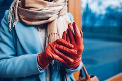 Elegante uitrusting Close-up van van modieuze vrouw in laag, sjaal en bruine handschoenen Modieus meisje op de straat stock afbeelding