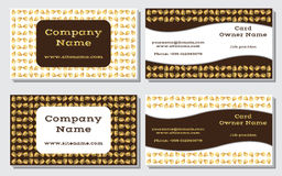 Elegante und moderne Visitenkarte Das weiter entwickelte Design Eine schöne Kombination von Gold-, Gelb-, weißen und Braunenfarbe Stockfotografie