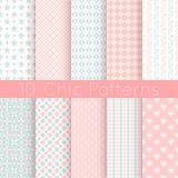 10 elegante verschillende vector naadloze patronen Roze, stock illustratie