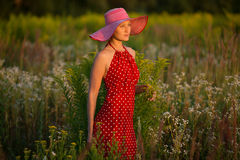 Elegante vrouw in een hoed onder wildflowers bij zonsondergang Royalty-vrije Stock Foto's