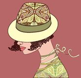 Elegante vrouw een hoed van Paisley Stock Foto's