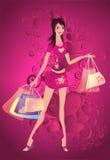 Elegante vrouw met aankoopzakken stock illustratie