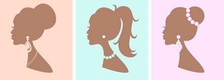 Elegante Vrouwelijke Kapsels Stock Foto's