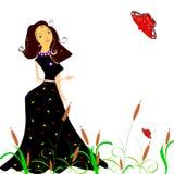 Elegante vrouwen een bloemenachtergrond Royalty-vrije Stock Afbeeldingen