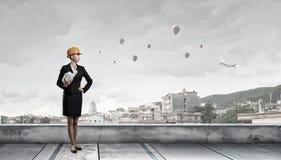 Elegante vrouweningenieur Gemengde media Royalty-vrije Stock Fotografie