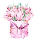Elegante waterverfsamenstelling met mooie, roze, bevlekte bloemen, tulpen en bladeren in roze bevlekt om doos vector illustratie