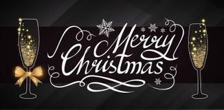 Elegante Weihnachtsdesign-Schablone mit Beschriftung, Champagne Glasses, Goldeffekten, Sternen und Blitzlicht Vektor Stockfotos