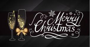 Elegante Weihnachtsdesign-Schablone mit Beschriftung, Champagne Glasses, Goldeffekten, Sternen und Blitzlicht Vektor Lizenzfreies Stockfoto