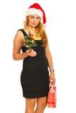Elegante Weihnachtsfrau Stockbild