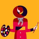 Elegante Weinlesefrau im Hut mit Malerpinsel und Farbpalette Lizenzfreies Stockfoto