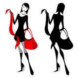 Elegante winkelende vrouw Stock Afbeeldingen