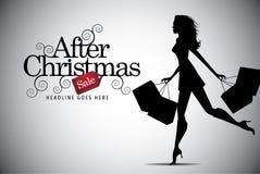 Elegante winkelende vrouw na Kerstmis reclame Stock Afbeeldingen