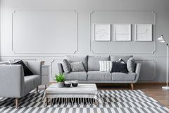 Elegante woonkamer met twee comfortabele grijze banken met hoofdkussens en grafisch op de muur stock foto
