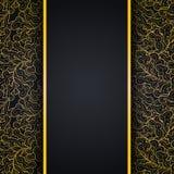 Elegante zwarte achtergrond met gouden kantornament stock illustratie