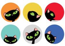 Elegante Zwarte Cat Heads in de Kleurrijke Vastgestelde Vectorillustratie van het Cirkelontwerp Stock Afbeeldingen