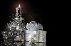Elegante Zwarte Kerstmiskaars Stock Foto