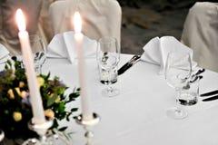 Eleganter Abendtisch Lizenzfreies Stockfoto