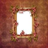 Eleganter Bilderrahmen mit rosafarbenen Blumen Stockfotografie
