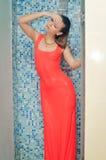 Eleganter Brunette mit dem langen Haar im roten Kleid herein Stockfotografie