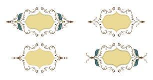 Eleganter dünner Vektorfeiertags-Ornamentrahmensatz Blätter gestalten für Design, die Datumskarten und heiraten Einladungen Altmo Stockbilder