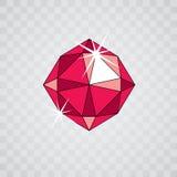 Eleganter funkelnder Edelstein des Vektors Glatte Diamantikone, Symbol facette stock abbildung