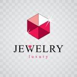 Eleganter funkelnder Edelstein des Vektors Luxusdiamantzeichenemblem, logoty lizenzfreie abbildung