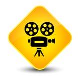 Eleganter gelber Diamantknopf der Videokameraikone Stockfotos