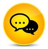 Eleganter gelber runder Knopf der Gesprächsblasen-Ikone Lizenzfreies Stockbild