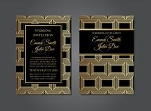 Eleganter geometrischer Art Deco Gatsby Wedding Invitations-Entwurf stock abbildung