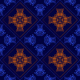 Eleganter geometrischer Hintergrund gemacht vom dekorativen mit Blumenmuster Vektor Lizenzfreie Stockbilder