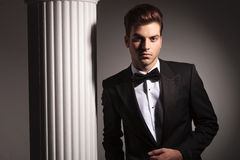 Eleganter Geschäftsmann, der nahe Studiohintergrund aufwirft Lizenzfreies Stockbild