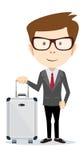 Eleganter Geschäftsmann mit Koffer außerhalb des Flughafens, Stockbilder
