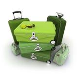 Eleganter grüner Gepäcksatz Stockfotos