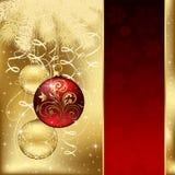 Eleganter Hintergrund mit drei Weihnachtskugeln Stockfoto