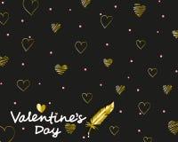 Eleganter Karte Valentinstag mit goldenen zeichnenden Herzen vektor abbildung