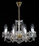 Eleganter Kristall-strass Leuchter mit acht Lampen Stockbild