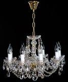 Eleganter Kristall-strass Leuchter mit acht Lampen Stockbilder